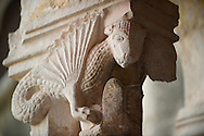 Stock photos of Sculptured dragon historiated Romanesque column Capitals - Franciscan Monatery cloisters - Dubrovnik .<br /> <br /> Visit our CROATIA HISTORIC SITES PHOTO COLLECTIONS for more photos to download or buy as wall art prints https://funkystock.photoshelter.com/gallery-collection/Pictures-Images-of-Croatia-Photos-of-Croatian-Historic-Landmark-Sites/C0000cY_V8uDo_ls
