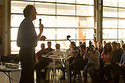 Professor Tim Noakes addresses an audience at Academia at the University of Stellenbosch. Image by Greg Beadle