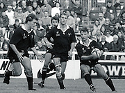 Twickenham, GREAT BRITAIN,      Rob ANDREW, with the ball is supported by left to right, Graham CHILDS, Steve BATES and Lawrence DALLAGLIO, during the premiership match, Harlequins vs London Wasps, played at The Stoop Memorial Ground. 10.1994..[Mandatory Credit; Peter Spurrier/Intersport-images]