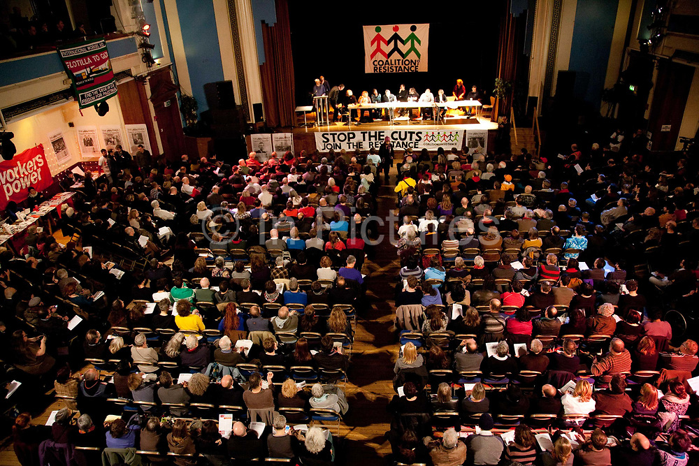 Coalition of resistance, a left wing coalition formed of various groups such as Socialist worker, Green Party and War on Want, Kings Cross 2010. Speakers included Tony Benn, Ken Loach and others. View from above.