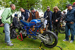 Anders Teo's race inspired custom electric motorcycle at the Twin Club's annual Custom Bike Show in Norrtälje, Sweden. Saturday, June 1, 2019. Photography ©2019 Michael Lichter.