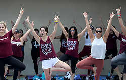 People do yoga at Pine Trails Park in Parkland, Fla. on Thursday, February 14, 2019 while commemorating the 17 victims killed last year at Marjory Stoneman Douglas High School. Photo by Mike Stocker/Sun Sentinel/TNS/ABACAPRESS.COM