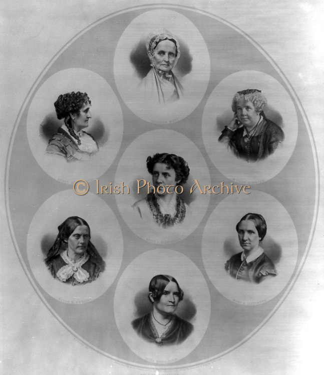 Head-and-shoulders portraits of seven prominent figures of the suffrage and women's rights movement 1870.