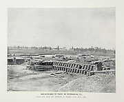 """BREASTWORKS IN FRONT OF PETERSBURG, VA from The American Civil War book and Grant album : """"art immortelles"""" : a portfolio of half-tone reproductions from rare and costly photographs designed to perpetuate the memory of General Ulysses S. Grant, depicting scenes and incidents in connection with the Civil War Published  in Boston and New York by W. H. Allen in 1894"""