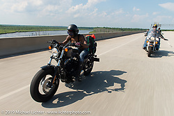 Chanel Flowers riding from Camp Lejeune Marine base in NC to Suck, Bang, Blow in Murrells Inlet in SC on the way to the Smokeout 2015. USA. June 17, 2015.  Photography ©2015 Michael Lichter.