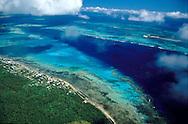 Aerial view of the island of Tongatapu, Tonga.
