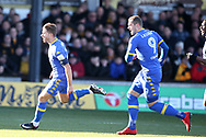 Gaetano Berardi of Leeds Utd (28) celebrates after he scores his teams 1st goal. The Emirates FA Cup , 3rd round match, Newport county v Leeds Utd at Rodney Parade in Newport, South Wales on Sunday 7th January 2018.<br /> pic by Andrew Orchard,  Andrew Orchard sports photography.