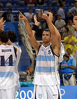 27/08/04 - ATHENS  - GREECE -  - BASKETBALL SEMIFINAL MATCH   - Indoor Olympic Stadium - <br />ARGENTINA win (89) over USA United States of America (81) <br />Argentine celebration after win the match.<br />here EMANUEL GINOBILI.<br />© Gabriel Piko / Argenpress.com / Piko-Press