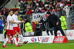 November 13, 2017 - Gdansk, Poland - Coach Juan Carlos Osorio (MEX), Maciej Rybus (POL), Jaroslaw Jach (POL) during the International Friendly match between Poland and Mexico at Energa Stadium in Gdansk, Poland on November 13, 2017. (Credit Image: © Foto Olimpik/NurPhoto via ZUMA Press)