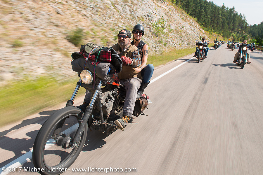 Missy and Darrren McKeag on the Aidan's Ride to raise money for the Aiden Jack Seeger nonprofit foundation to help raise awareness and find a cure for ALD (Adrenoleukodystrophy) during the annual Sturgis Black Hills Motorcycle Rally. Vanocker Canyon between Sturgis and Nemo, SD, USA. Tuesday August 8, 2017. Photography ©2017 Michael Lichter.