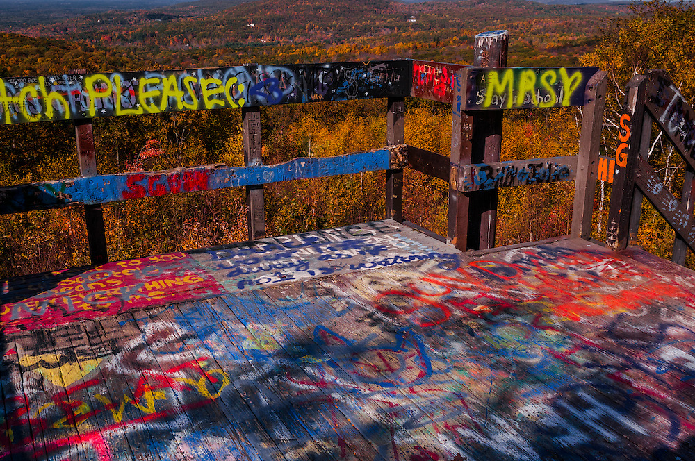 Graffiti on lookout tower and fall views, summit of Soapstone Mtn, Shenipsit State Forest, Somers, CT