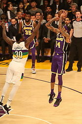 February 27, 2019 - Los Angeles, CA, U.S. - LOS ANGELES, CA - FEBRUARY 27: Los Angeles Lakers Guard Brandon Ingram (14) shoots over New Orleans Pelicans Center Julius Randle (30) during the first half of the New Orleans Pelicans versus Los Angeles Lakers game on February 27, 2019, at Staples Center in Los Angeles, CA. (Photo by Icon Sportswire) (Credit Image: © Icon Sportswire/Icon SMI via ZUMA Press)