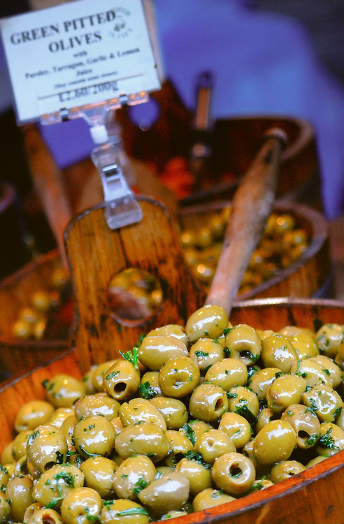 Olives for sale at Borough Market, London. Borough market is considered one of the world's best for gourmet food and fresh produce.