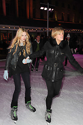 Left to right, sisters GEORGIANA ANSTRUTHER-GOUGH-CALTHORPE and ISABELLA ANSTRUTHER-GOUGH-CALTHORPE at Skate presented by Tiffany & Co at Somerset House, London on 22nd November 2010.