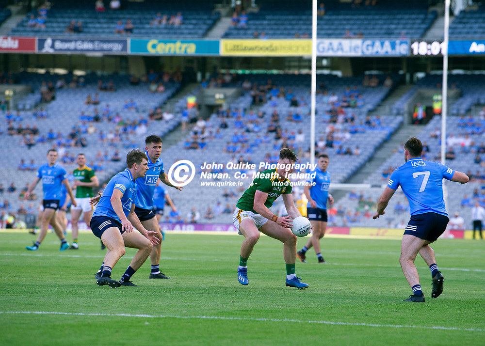 18-07-21. Meath v Dublin - Leinster Senior Football Championship Semi-Final at Croke Park.<br />Thomas O'Reilly, is surrounded by three Dublin players during the Leinster SFC Semi-Final.<br />Photo: John Quirke / www.quirke.ie<br />©John Quirke Photography, 16 Proudstown Road, Navan. Co. Meath. (info@quirke.ie / 046-9028461 / 087-2579454).