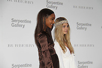 Jourdan Dunn; Cara Delevigne The Serpentine Gallery Summer Party 2011 with Burberry, Kensington Gardens, London, UK, 28 June 2011:  Contact: Rich@Piqtured.com +44(0)7941 079620 (Picture by Richard Goldschmidt)