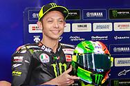 #46 Valentino Rossi, Italian: Movistar Yamaha MotoGP shows his Mugello special helmet during the Italian MotoGP at Autodromo Internazionale, Mugello, Italy on 1 June 2019.