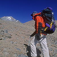 Archaeologist Dr. Johan Reinhard hikes up the slopes of 22,110-foot Volcan Llullaillaco in northern Argentina, where he later found the world's highest mummies from an ancient Inca sacrifice.