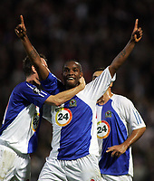 Photo: Paul Thomas.<br /> Blackburn Rovers v SV Red Bell. UEFA Cup. 28/09/2006.<br /> <br /> Benni McCarthy of Blackburn celebrates his goal.