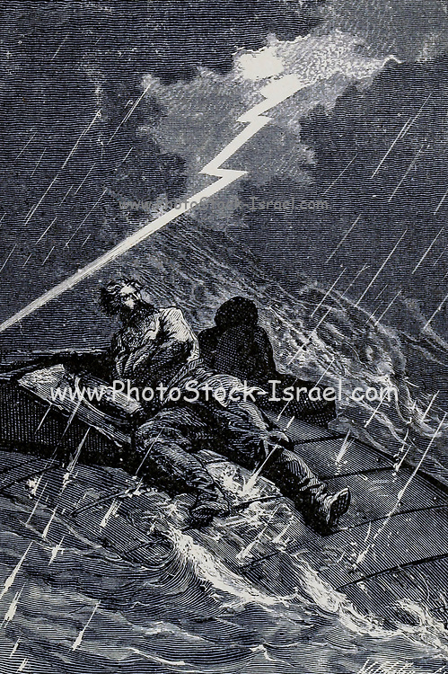 A shower of fire had succeeded the rain From the Book Twenty thousand leagues under the seas, or, The marvelous and exciting adventures of Pierre Aronnax, Conseil his servant, and Ned Land, a Canadian harpooner by Verne, Jules, 1828-1905 Published in Boston by J.R. Osgood in 1875