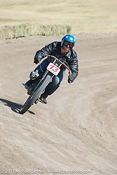 EBay Jake on 1919 Harley-Davidson racer in the Sons of Speed banked dirt oval racing at the Full Throttle Saloon during the annual Sturgis Black Hills Motorcycle Rally. Sturgis, SD. USA. Thursday August 10, 2017. Photography ©2017 Michael Lichter.