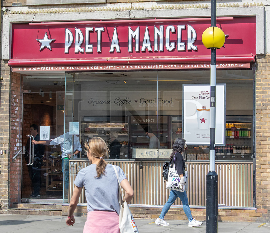 © Licensed to London News Pictures. 16/04/2020. London, UK. Pret A Manger in St John's Wood, London which has reopened as Ministers decide when and how the lockdown will finish as politicians are warned that the UK could face the worst recession in 300 years. Photo credit: Alex Lentati/LNP