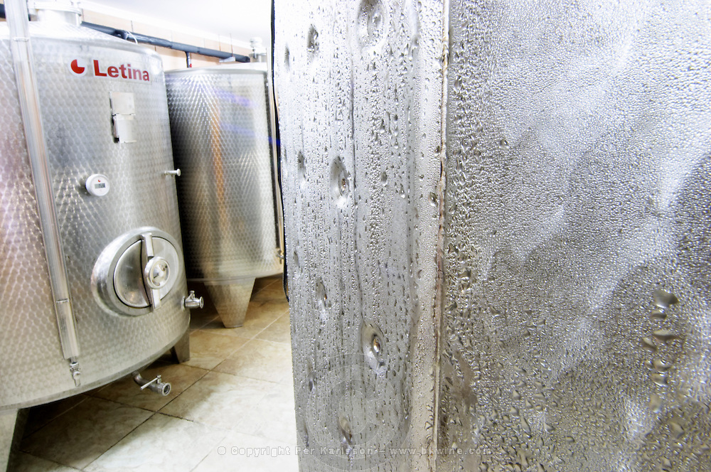 The winery with modern stainless steel fermentation tanks. Detail of condensation drips on the outside surface. Toreta Vinarija Winery in Smokvica village on Korcula island. Vinarija Toreta Winery, Smokvica town. Peljesac peninsula. Dalmatian Coast, Croatia, Europe.