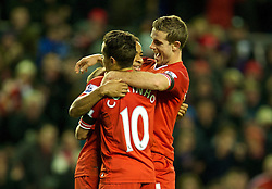 05.01.2014, Anfield, Liverpool, ENG, FA Cup, FC Liverpool vs FC Oldham Athletic, 3. Runde, im Bild Liverpool's Raheem Sterling celebrates scoring the second goal against Oldham Athletic with team-mates Jordan Henderson and Philippe Coutinho Correia // during the English FA Cup 3rd round match between Liverpool FC and Oldham Athletic FC at the Anfield in Liverpool, Great Britain on 2014/01/05. EXPA Pictures © 2014, PhotoCredit: EXPA/ Propagandaphoto/ David Rawcliffe<br /> <br /> *****ATTENTION - OUT of ENG, GBR*****