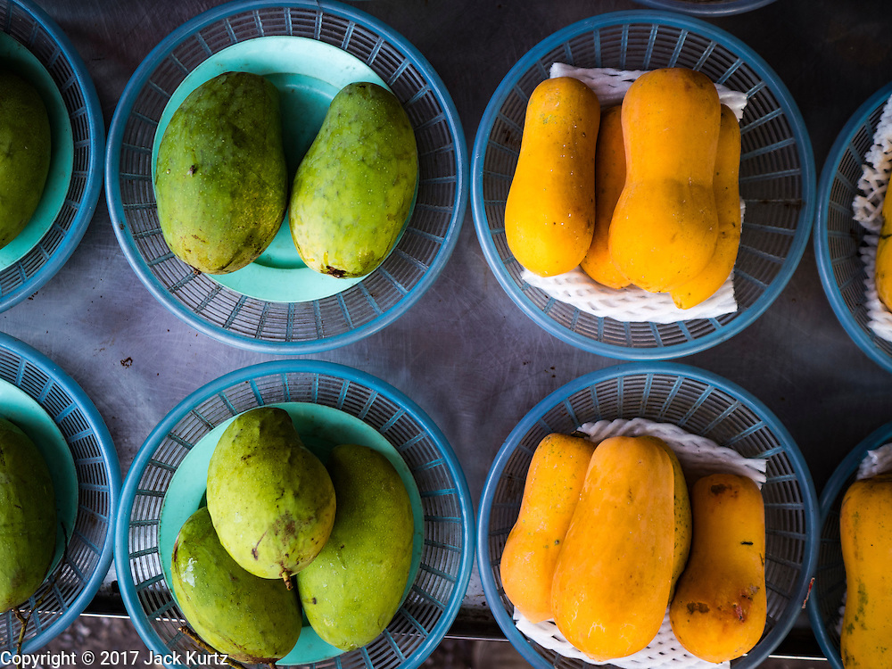 21 JANUARY 2017 - BANGKOK, THAILAND:  Fruit for sale in Phra Khanong Market in Bangkok. The market serves a mix of foreign residents, local people, and Burmese migrants.      PHOTO BY JACK KURTZ