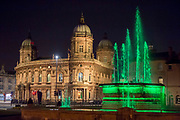 7 April 2018: Hull, East Yorks, UK. Hull city centre is lit up tonight with the switch on of a new permanent installation - The Golden Hour - that shines different colour lights on some of the city's architecture.  The work is by Nayan Kulkarni, the artist behind the Siemens Blade installation last year.<br /> Hull is the current UK City of Culture, handing over the title to Coventry in 2021.<br /> Buildings illuminated include the Maritime Musem, Hull City Hall and Hull Minster as well as some of Hull's most iconic statues.<br /> The Golden Hour is part of Hull City Council's committment to continuing its investment into culture and the arts with a £250million plan to deliver further improvements to the city's cultural and visitor infrastructure and a pledge to provide on-going support to the city's independent arts sector.<br />  Picture: Sean Spencer/Hull News & Pictures Ltd<br /> 01482 210267/07976 433960<br /> www.hullnews.co.uk         sean@hullnews.co.uk