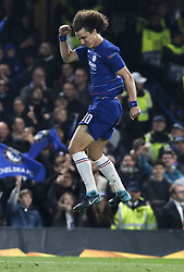 BRITAIN-LONDON-FOOTBALL-UEFA EUROPA LEAGUE-CHELSEA VS FRANKFURT.(190510) -- LONDON, May 10, 2019  Chelsea's David Luiz celebrates after his penalty shoot of the UEFA Europa League semi-final second leg match between Chelsea and Frankfurt in London, Britain on May 9, 2019.  FOR EDITORIAL USE ONLY. NOT FOR SALE FOR MARKETING OR ADVERTISING CAMPAIGNS. NO USE WITH UNAUTHORIZED AUDIO, VIDEO, DATA, FIXTURE LISTS, CLUBLEAGUE LOGOS OR ''LIVE'' SERVICES. ONLINE IN-MATCH USE LIMITED TO 45 IMAGES, NO VIDEO EMULATION. NO USE IN BETTING, GAMES OR SINGLE CLUBLEAGUEPLAYER PUBLICATIONS. (Credit Image: © Xinhua via ZUMA Wire)