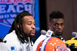 The Florida Gators speak with the media during a press conference on December 27, 2018, in Atlanta. Michigan will face Florida in the 2018 Chick-fil-A Peach Bowl NCAA football game on December 29, 2018. (Paul Abell via Abell Images for the Chick-fil-A Peach Bowl)