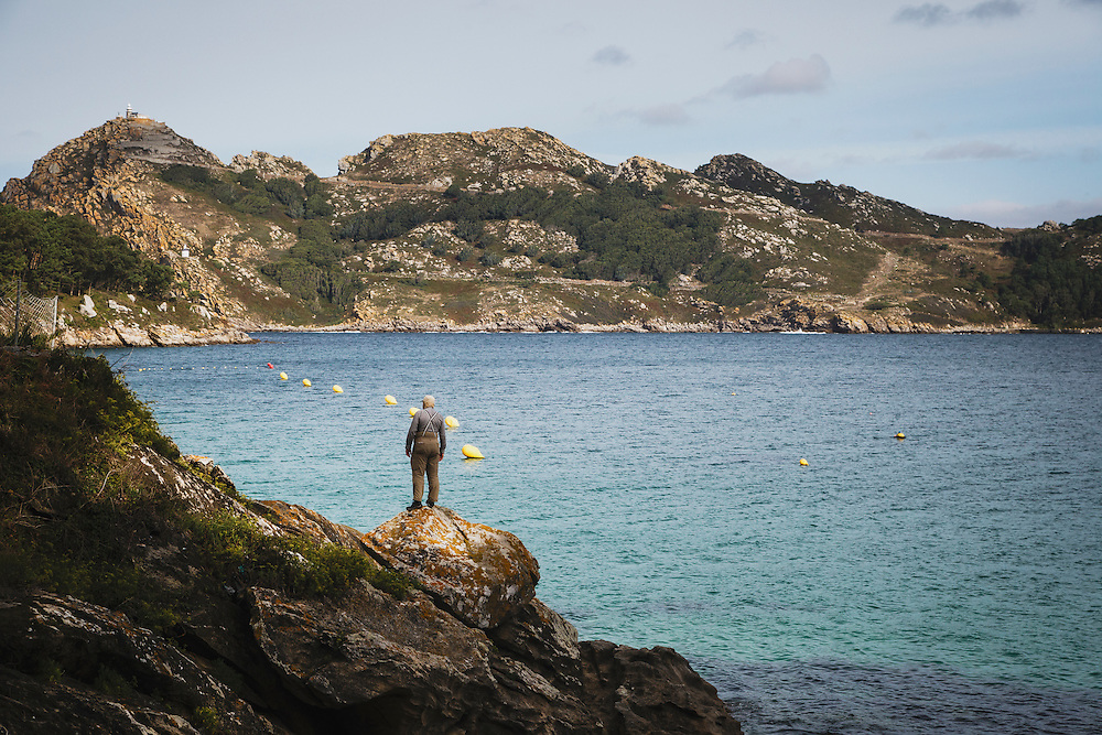Karl Klaus takes in the view on San Martino Island, Cies Islands, Spain.