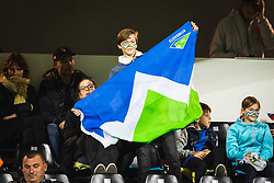 Boy waeing slovenian flag before football match between Slovenia and Nederland in qualifying Round of Woman's qualifying for EURO 2021, on October 5, 2019 in Mestni stadion Fazanerija, Murska Sobota, Slovenia. Photo by Blaž Weindorfer / Sportida