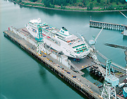"""ackroyd_C08449-2. """"Port of Portland. aerials Star Princess on drydock. September 20, 1993"""" Published in Daily Shipping News 9/28/93 pg. 1.  Swan Island"""