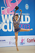 Flebbo Fedrica during qualifying at ball in the Pesaro World Cup April 26,2013. Federica is an Italian individual rhythmic gymnast, she was born on 13 May1993 in Chieti Italy.