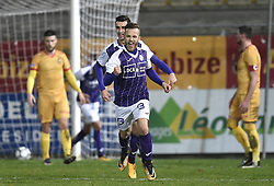 January 10, 2018 - Tubize, BELGIUM - Beerschot's Jimmy De Jonghe celebrates after scoring during a soccer game between AFC Tubize and Beerschot-Wilrijk, in Tubize, Wednesday 10 January 2018, on day 19 of the division 1B Proximus League competition of the Belgian soccer championship. The game was postponed because of bad weather conditions on December 10th. BELGA PHOTO JOHN THYS (Credit Image: © John Thys/Belga via ZUMA Press)