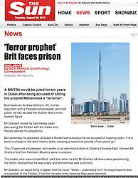 The Sun; Burj Khalifa tower in Dubai