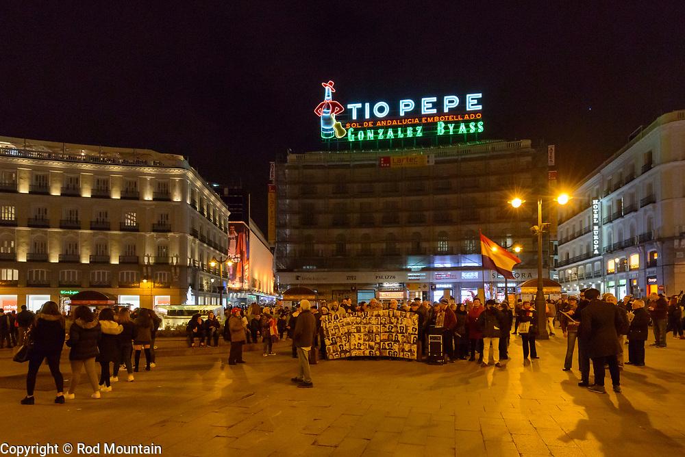 Madrid, Spain - February 15, 2018 - The instantly familiar Tio Pepe neon sign shines above Puerta del Sol…<br /> <br /> Image: © Rod Mountain<br /> <br /> Instagram<br /> @spain @visita_madrid @bodegastiopepe<br /> <br /> FaceBook<br /> @spain.info @visitamadridoficial @tiopepe <br /> <br /> Twitter<br /> @spain @Visita_Madrid @TioPepeWine @gonzalezbyass <br /> <br /> https://en.wikipedia.org/wiki/Puerta_del_Sol<br /> https://www.esmadrid.com/en<br /> https://www.spain.info/en/que-quieres/ciudades-pueblos/grandes-ciudades/madrid.html<br /> <br /> #neonsigns #europe_greatshots #europe_ig #Spain #nighttimephotography #nightshooters #bwnight #igfotogram_bw #akasimagazine #shootermag  #1stinstinct #heatercentral#noir_vision #awesome_earthpix#travelphoto #travelworld #lifeofadventure #streetleaks #wearethestreet #streetphotographers #noirstreetlife #zonestreet #ig_myshotwanderlust #everydaymadrid #bnw_planet #bwmasters #bnw_magazine #bw_lovers #bwstyleoftheday #nikonD800