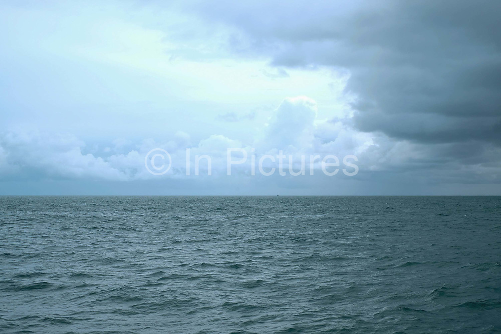 The sea and sky during stormy weather in Brixham, Devon, United Kingdom on 25th July 2017