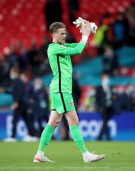 England goalkeeper Jordan Pickford applauds the fans after the UEFA Euro 2020 Group D match at Wembley Stadium, London. Picture date: Tuesday June 22, 2021.