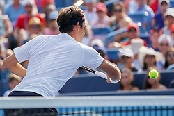 August 19, 2018 - Mason, Ohio, USA - Roger Federer, (SUI) reaches for a shot at the net during Sunday's final round of the Western and Southern Open at the Lindner Family Tennis Center, Mason, Oh. (Credit Image: © Scott Stuart via ZUMA Wire)