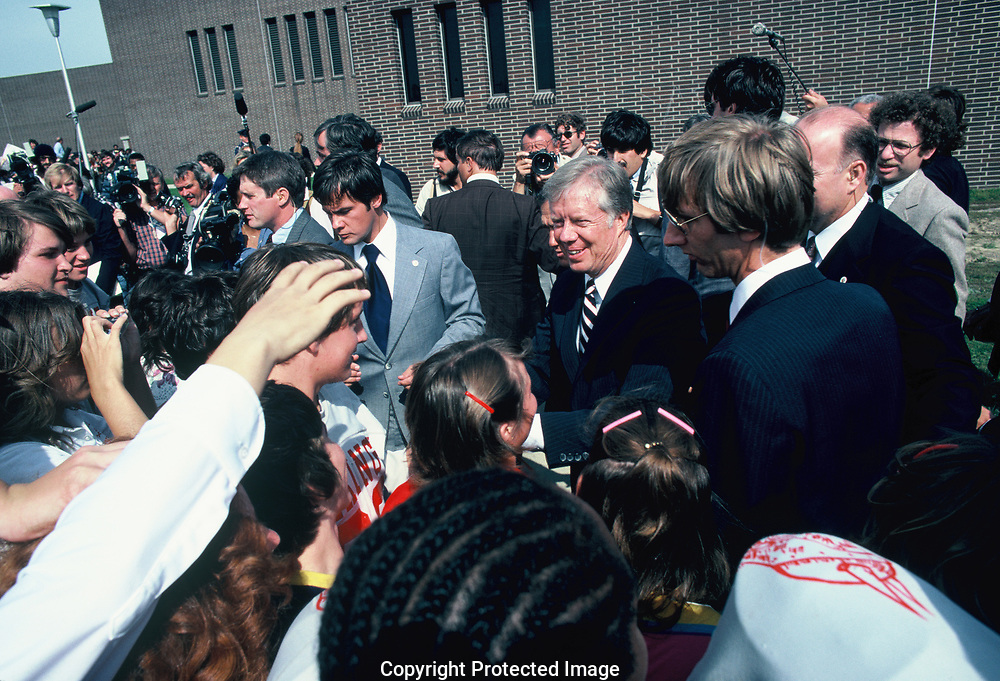 Jimmy Carter shaking hands in Detroit Michigan in October 1980.<br /> <br /> by Dennis Brack