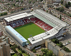 Image ©Licensed to i-Images Picture Agency. Aerial views. United Kingdom.<br /> Upton Park, home of West Ham FC. Picture by i-Images