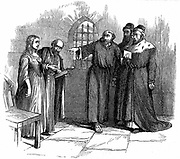 Persecution of Waldenses (Valdenses, Vaudois, Valdesi) by the Roman Catholic church. Lucrezia Castellani accused of heresy before Inquisitors at Turin after taking part in a banned Waldenses service. Condemned and burnt at the stake c1476. 19th century engraving.