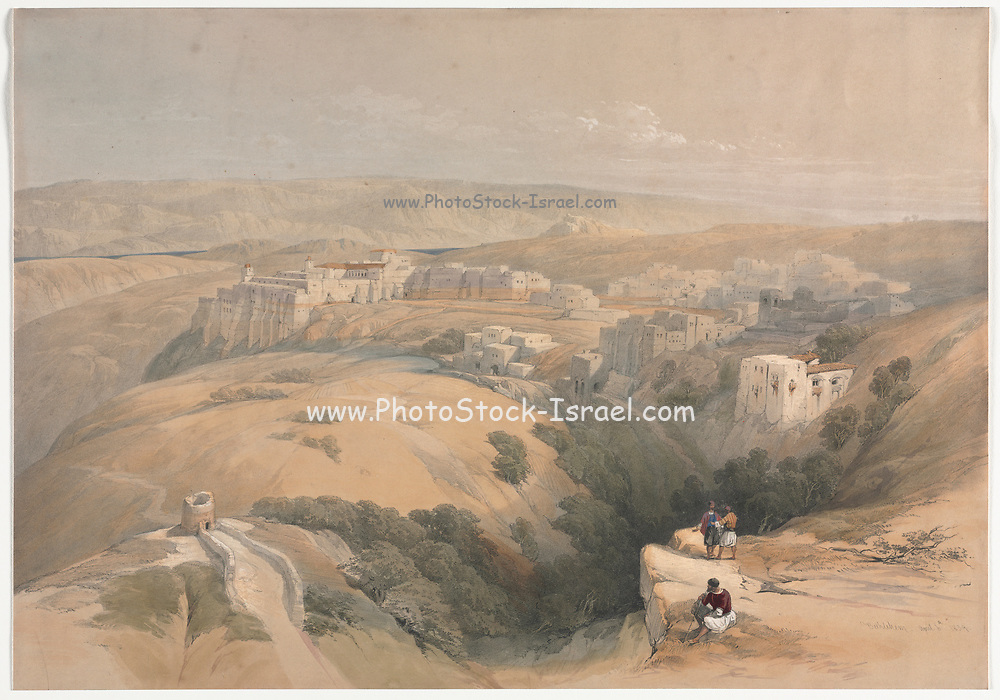 Bethlehem 1839 Color lithograph by David Roberts (1796-1864). An engraving reprint by Louis Haghe was published in a the book 'The Holy Land, Syria, Idumea, Arabia, Egypt and Nubia. in 1855 by D. Appleton & Co., 346 & 348 Broadway in New York.