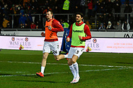 Aden Flint (24) of Middlesbrough and George Friend (3) of Middlesbrough warming up before the The FA Cup match between Newport County and Middlesbrough at Rodney Parade, Newport, Wales on 5 February 2019.