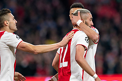 08-05-2019 NED: Semi Final Champions League AFC Ajax - Tottenham Hotspur, Amsterdam<br /> After a dramatic ending, Ajax has not been able to reach the final of the Champions League. In the final second Tottenham Hotspur scored 3-2 / Hakim Ziyech #22 of Ajax scores 2-0, Dusan Tadic #10 of Ajax, Noussair Mazraoui #12 of Ajax