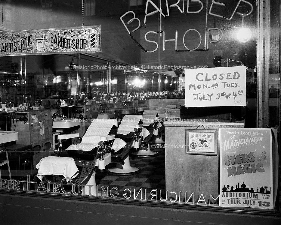 Y-500703A1.  Antiseptic Barber Shop, 622 SW Yamhill, Portland, Oregon, closed for July 4th weekend July 3, 1950