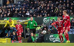 Simon Hedlund (Brøndby IF) scorer til 1-0 under kampen i 3F Superligaen mellem Brøndby IF og Lyngby Boldklub den 1. marts 2020 på Brøndby Stadion (Foto: Claus Birch).
